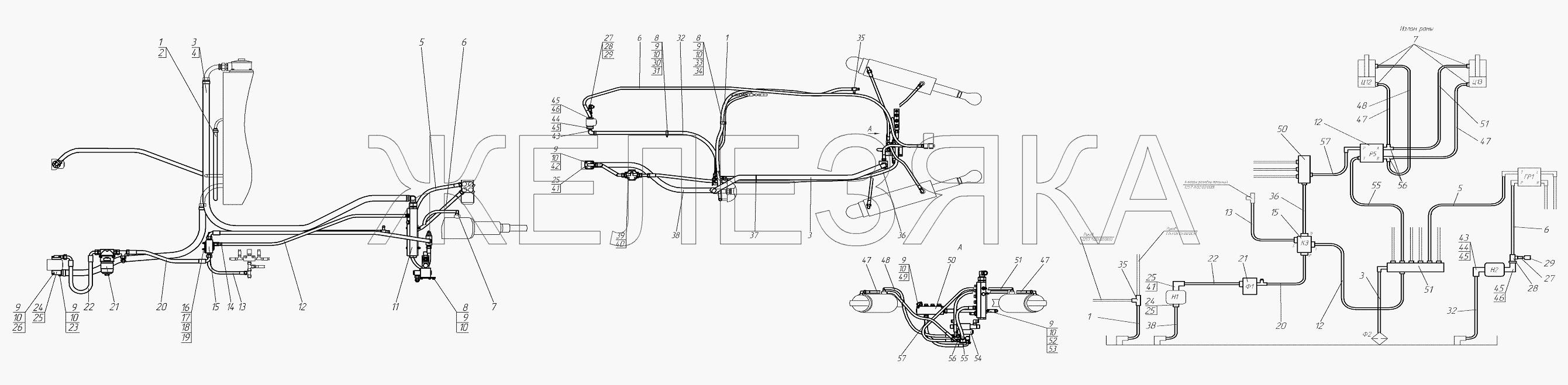 Гидросистема от автогрейдера ГС-25.09 title=