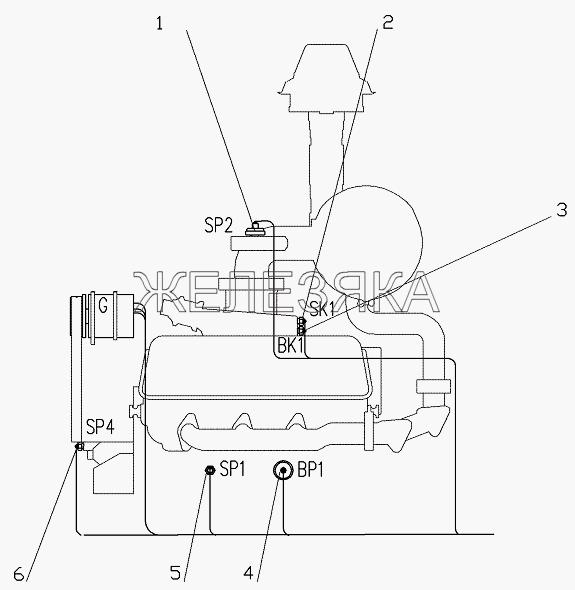 Установка датчиков на двигателе от автогрейдера ГС-25.09 title=