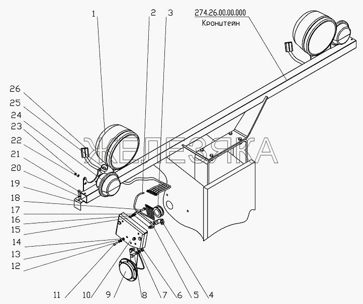Установка передних осветительных и электрических приборов от автогрейдера ГС-25.09 title=