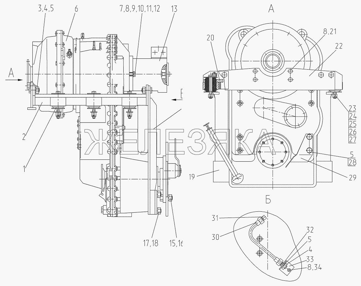Установка коробки переключения передач от автогрейдера ГС-25.09 title=