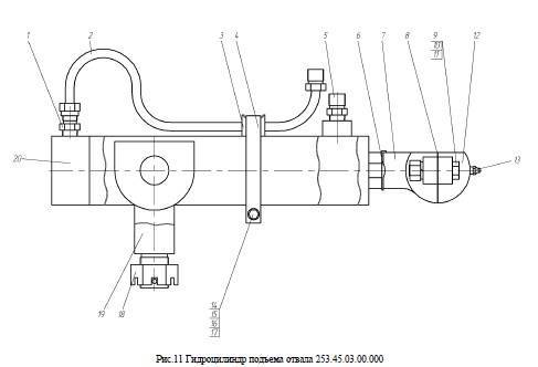 Гидроцилиндр подъема отвала 253.45.03.00.000 от автогрейдера ГС-14.02 title=