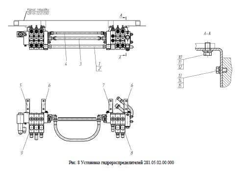 Установка гидрораспределителей 281.05.02.00.000 от автогрейдера ГС-14.02 title=