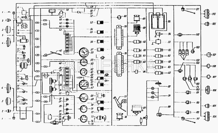 Схема электрооборудования от КрАЗа 6443 title=