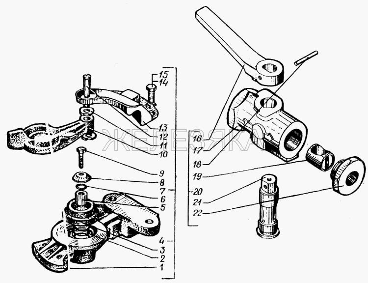 Клапан управления тормозной системой прицепа с двухпроводным приводом от КрАЗа 6443 title=