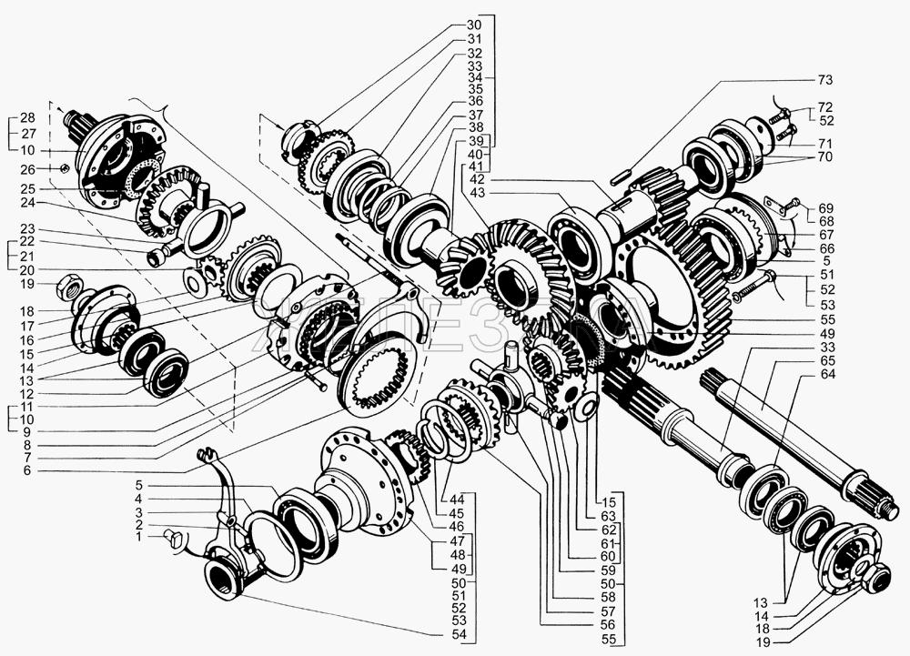 Редуктор главной передачи среднего моста (валы и шестерни) от КрАЗа 65053 title=