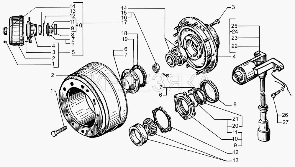 Ступицы и тормозные барабаны передних колес от КрАЗа 65053 title=