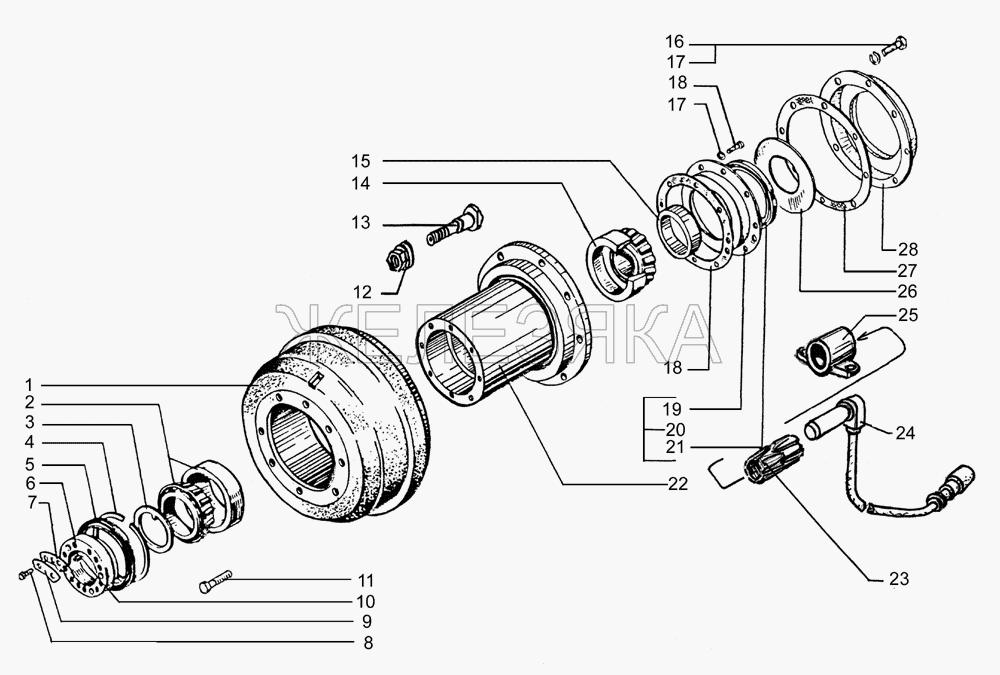 Ступицы и тормозные барабаны задних дисков колес от КрАЗа 65053 title=