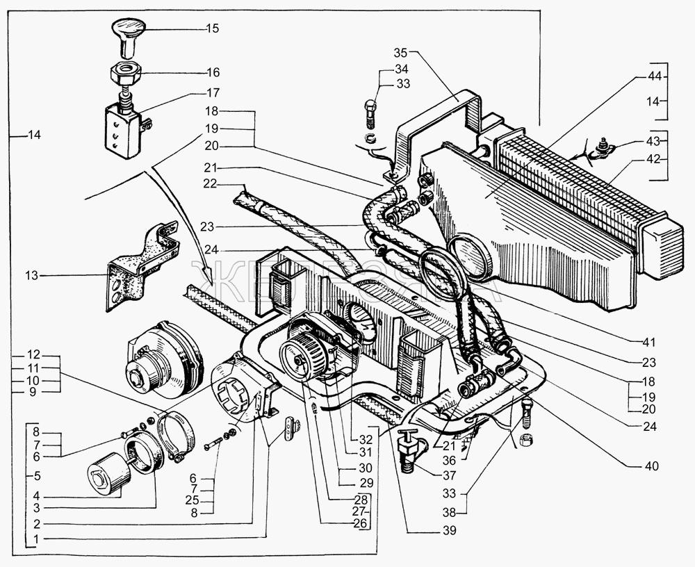 Отопитель кабины дополнительный и шланги от КрАЗа 65053 title=