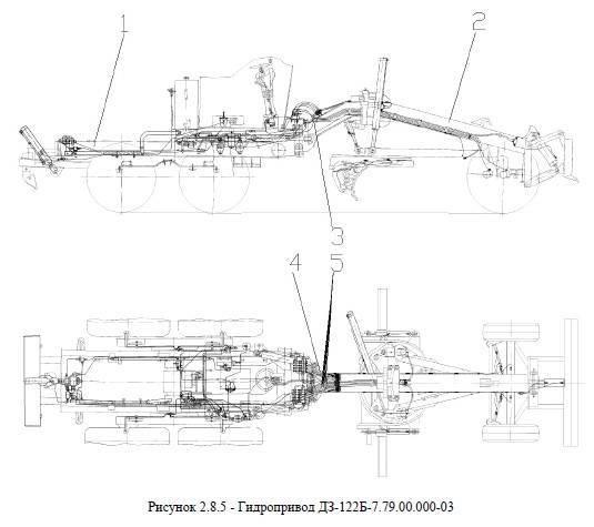 Гидрооборудование подмоторной рамы А122Б-2.08.01.000 от автогрейдера ДЗ-122Б title=