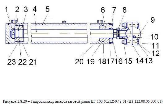 Гидроцилиндр выноса тяговой рамы ЦГ-100.50х1250.48-01 (ДЗ-122.08.06.000-01) от автогрейдера ДЗ-122Б title=