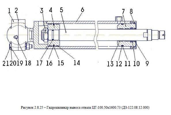 Гидроцилиндр выноса отвала ЦГ-100.50х1600.73 (ДЗ-122.08.12.000) от автогрейдера ДЗ-122Б title=